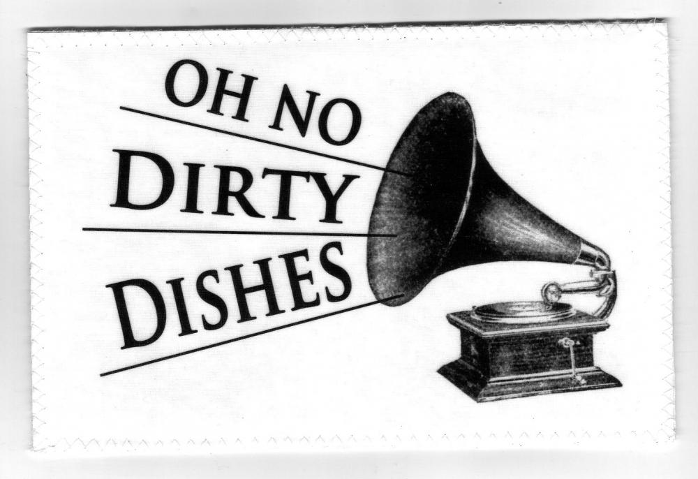 Dishwasher magnet Clean Dirty dishes Flip Sign Vintage Phonograph