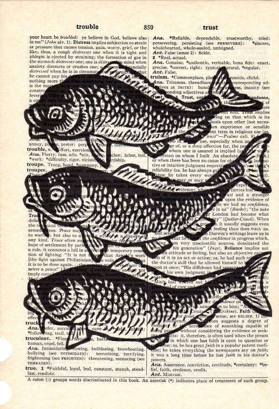 Dictionary Book Page Art print Three Koi Fish
