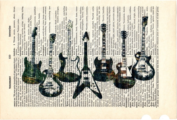 Dictionary Book Page Art print Guitars