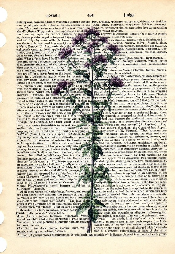 Dictionary Book Page Art print Marjoram herb
