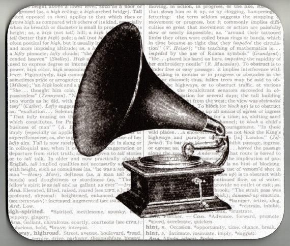 Mouse Pad Vintage 1911 Phonograph Dictionary Book Page decorative unique
