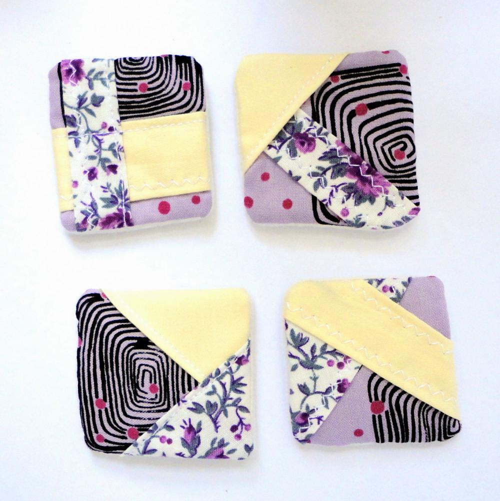 Magnets mini fabric patchwork unique set 4 OOAK yellow purple