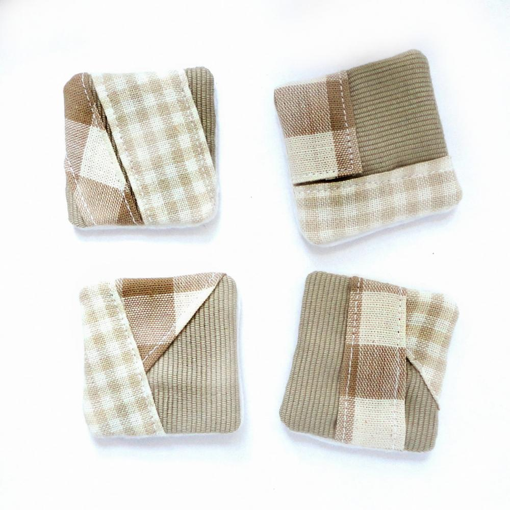 Magnets mini fabric patchwork unique set 4 OOAK Tan plaid gingham ribbed