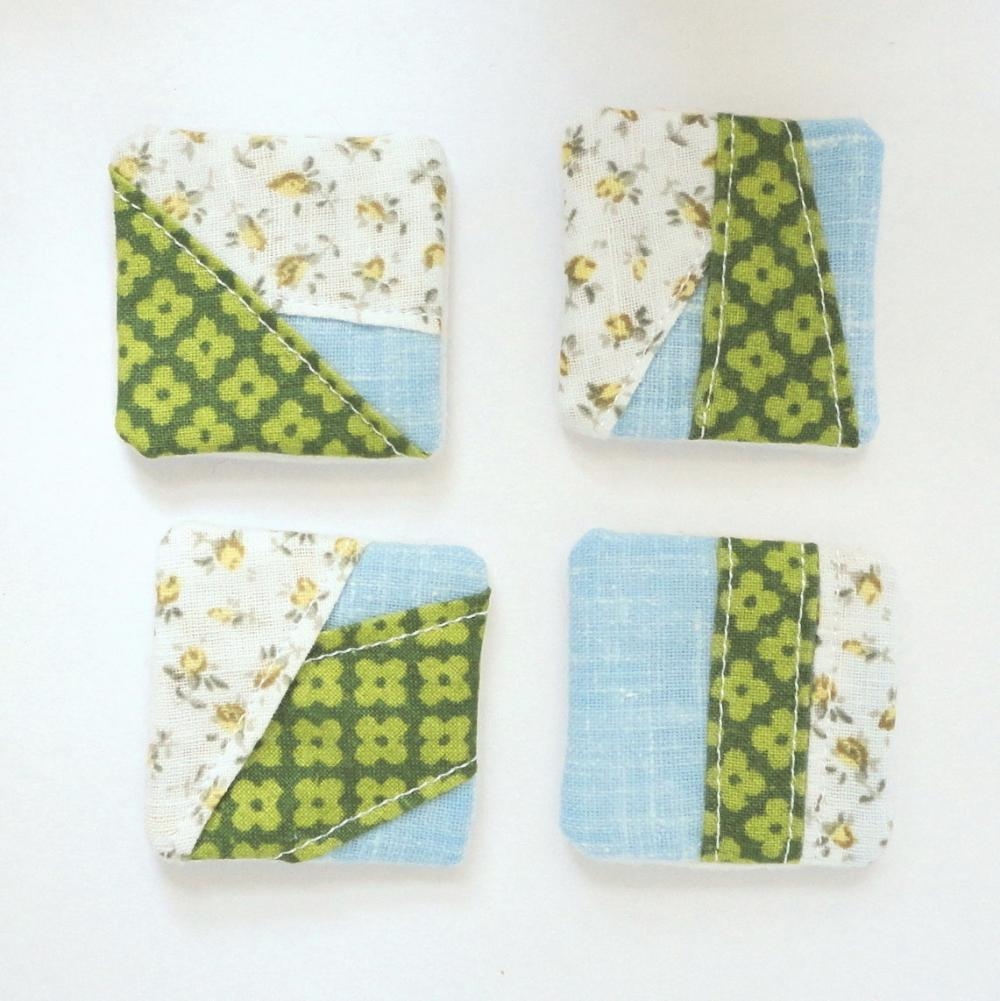 Magnets mini fabric patchwork unique set 4 OOAK Green blue touch of yellow